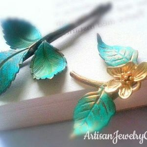 Woodland Patina Leaf & Orchid Branch Bobby Pin Set